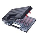 BigDean XL Doppeldecker Organizer Sortimentskasten 12-54 Fächer Kleinteilemagazin Schraubenbox Werkzeugkasten Schmuckbox Schmuckkasten Sortierkiste verbindbar verbunden kompakt