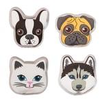 BigDean 4x Taschenwärmer in 4 Hund & Katze-Motiv - Handwärmer wiederverwendbar für Kinder - Wärmepads zum Knicken