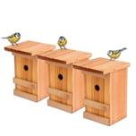 BigDean 3x Nistkästen Meisennistkasten Vogelhaus Meisen Vogelhäuschen Massivholz 25,5 x 16 x 17 cm Einflugloch 28mm Nistkasten