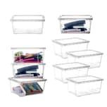 BigDean 9er Set Aufbewahrungsbox mit Deckel - transparente Box aus PP-Kunststoff - 19x14,5x9 cm - stapelbare Klarsichtbox - 1,7 Liter - durchsichtige Ordnungsbox