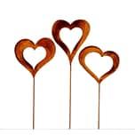 BigDean 3er Set Gartenstecker Herzen im Edelrost Stil 60 cm groß - Rost Gartendeko aus Metall für Garten