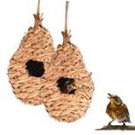 BigDean 2x Nisttasche Vogelnest gewebt 27 x 12 cm - 100% Naturprodukt - für Vögel wie Kohlmeisen, Spatz, Rotkehlchen, Zebrafinken - Nistkasten Vogel Unterschlupf