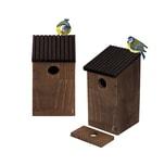 BigDean 2x Nistkasten Meisen Nest - Vogelhaus aus Natur Holz - Braun Grau - 24x14x12 cm - Bruthöhle Nisthaus Meisenkasten offen für Wildvögel