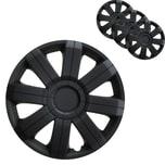 """BigDean 4er Set 15 Zoll Radkappen Deluxe Black Edition - Universal Radzierblenden für Autofelgen - Premium Line Zierkappen 15"""" - Radblenden aus robustem ABS Kunststoff"""