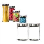 BigDean Vorratsgläser 2x 1,25 Liter Glas Schraubglas Lebensmittelglas Edelstahldeckel mit Schraubverschluss 17 x 11 cm Vorratsglas