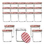 BigDean 24x Einmachgläser 350 ml für Pasteurisierung - Made in Germany - Marmeladengläser mit Schraub-Deckel Rot-weiß karriert - Einmachgläser - Honiggläser - Als Gastgeschenk