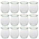 Weck 12er Pack Weck Tulpen Gläser Vorspeisen Dessert Glas mit Deckel 220ml Höhe 8,5cm Einmachglas Einkochglas