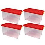 BigDean 4 Stück große Eurobox mit Deckel und Rollen Aufbewahrungsbox 60 X 40 X 32,5 cm