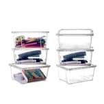 BigDean 6er Set Aufbewahrungsbox mit Deckel - transparente Box aus PP-Kunststoff - 19x14,5x9 cm - stapelbare Klarsichtbox - 1,7 Liter - durchsichtige Ordnungsbox