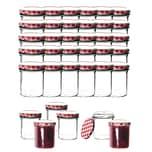 BigDean 36x Einmachgläser 350 ml für Pasteurisierung TO 82 - Made in Germany - Marmeladengläser mit Schraub-Deckel Karo-Muster - Einmachgläser - Honiggläser - Als Gastgeschenk