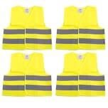 BigDean 4er Set Warnweste für Kinder 3 - 12 Jahre alt - Nach DIN EN 1150 mit variablem Klettverschluss - Ideal für den nach Hause Weg und Schulweg bei Dämmerung und Dunkelheit