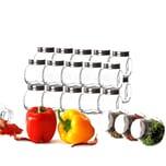 BigDean 24x kleine Gewürzgläser 200 ml mit Schraubdeckel - Gewürzbehälter-Set - Eckige Gewürzgläser aus Glas - Zum Stellen, Legen & Kippen - Luftdicht - Vorratsgläser, Gewürzdosen