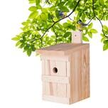 BigDean Nistkasten für Meisen & Kleinvögel - Vogelhaus aus Massivholz - 27x17x17cm - Brutkasten handgemacht in Europa - Meisenkasten wetterfest mit Einflugloch 28mm