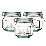BigDean 3x Drahtbügelglas 0,8l - 100% recyceltes Glas - 12,5 x 11 cm - Made in Spain - Vorratsglas mit Bügelverschluss Lebensmittelglas Vorratsdose Bügelglas