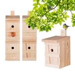BigDean 5x Nistkasten für Meisen & Kleinvögel - Vogelhaus aus Massivholz - 27x17x17cm - Brutkasten handgemacht in Europa - Meisenkasten wetterfest mit Einflugloch 28mm