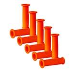BigDean 10x Schubkarren Universal Griffe - 14 cm Länge - 30 mm Innendurchmesser - Rundrohre ORANGE Karrengriff Schiebkarre Schubkarrengriffe