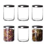 BigDean 6er Set Vorratsgläser 1L mit Metall-Deckel rund - Luftdichte Lebensmittel-Aufbewahrung für Küche - Aufbewahrungsgläser Vorratsdosen