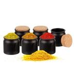 BigDean 6er Set Gewürzdosen mit Korken-Deckel 150 ml rund schwarz - Gewürzgläser Keramik - Vorratsdosen Aufbewahrung für Gewürze, Kräuter & Tee - Made in Germany