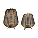 BigDean Modernes Windlicht-Kerzenhalter 2er Set 19 cm & 25 cm aus Metall-Draht schwarz-golden - Mit Henkel & Standbeinen - Kerzenständer,Teelicht-Halter