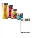 BigDean Vorratsglas 1,25 Liter Glas Schraubglas Lebensmittelglas Edelstahldeckel mit Schraubverschluss 17 x 11 cm