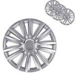 """BigDean 4er Set 15 Zoll Radkappen Silber - Universal Radzierblenden für Autofelgen - Premium Line Zierkappen 15"""" - Radblenden aus robustem ABS Kunststoff"""