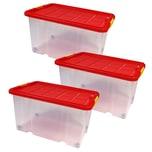 BigDean 3 Stück große Eurobox mit Deckel und Rollen Aufbewahrungsbox 60 X 40 X 32,5 cm