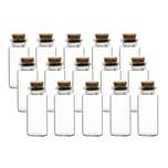 BigDean 15er Set 30 ml Glasfläschchen 7,5x3 cm mit Korken-Deckel - kleine Gewürzgläser