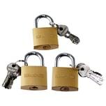 BigDean 3x Vorhängeschloss Schlösser mit 18 Schlüsseln gleichschließend