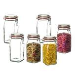 BigDean 6er Set Vorratsgläser mit Bügelverschluss 1,5 L eckig Lebensmittel Mehl Müsli Glas Aufbewahrungsgläser