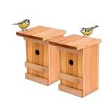 BigDean 2x Nistkästen Meisennistkasten Vogelhaus Meisen Vogelhäuschen Massivholz 25,5 x 16 x 17 cm Einflugloch 28mm Nistkasten