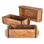 BigDean 3x Ziegelform 32x14x9 cm - Ein-Kammer - Vintage Holzkiste mit Metallbeschlägen - Ordnungsbox Allzweckkiste - Nachbau aus Altholz - Jedes Stück ein Unikat