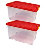 BigDean 2 Stück große Eurobox mit Deckel und Rollen Aufbewahrungsbox 60 X 40 X 32,5 cm
