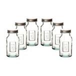 BigDean 6er Set Gewürzglas mit Schraubdeckel 250ml rund - 100% recyceltes Glas - Vorratsgläser für Gewürze, Kräuter & Tee - Vorratsdosen Gewürzdosen groß