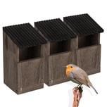 BigDean 3x Nistkasten für Rotkehlchen & Singvögel - 24x12x12 cm - Vogelhaus aus Natur Holz - Braun Grau - Bruthöhle offen - Nest Nisthaus für Wildvögel