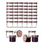 BigDean 48x Einmachgläser 125 ml für Pasteurisierung TO 66 - Made in Germany - Marmeladengläser mit Schraub-Deckel Karo-Muster - Einmachgläser - Honiggläser - Als Gastgeschenk