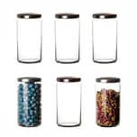 BigDean 6er Set Vorratsgläser mit Metall-Deckel 1,5L groß rund - Luftdichte Lebensmittel-Aufbewahrung für Küche - Aufbewahrungsgläser Vorratsdosen