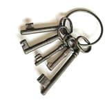 BigDean Schlüsselbund Braun Gusseisen Deko Retro Vintage Schlüssel Gußeisen 5 Schlüssel am Ring