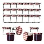 BigDean 24x Einmachgläser 125 ml für Pasteurisierung TO 66 - Made in Germany - Marmeladengläser mit Schraub-Deckel Karo-Muster - Einmachgläser - Honiggläser - Als Gastgeschenk