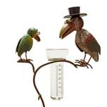 BigDean Gartenstecker mit Glas Rabenpaar aus Metall 136cm hoch Vögel bunt lackiert
