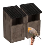 BigDean 2x Nistkasten für Rotkehlchen & Singvögel - 24x12x12 cm - Vogelhaus aus Natur Holz - Braun Grau - Bruthöhle offen - Nest Nisthaus für Wildvögel
