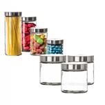 BigDean Vorratsgläser 3x 0,85 Liter Glas Schraubglas Lebensmittelglas Edelstahldeckel mit Schraubverschluss 12 x 11 cm Vorratsglas