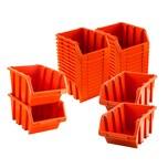 BigDean Sichtlagerboxen Set 28 Stück Orange Größe 3 (19,5x12x9 cm) - nestbar & stapelbar - Ordnungssystem für Werkstatt, Keller & Garage
