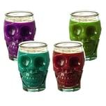 BigDean 4x Trinkgläser im Totenkopfdesign 450 ml - Made in Spain - Ideale Halloweendekoration - Für Cocktails, Softdrinks, Alkohol, Säfte & andere Getränke