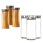 BigDean Vorratsgläser 3x 2,2 Liter Set Glas Schraubglas Lebensmittelglas Edelstahldeckel Schraubverschluss 27 x 11 cm Spagettiglas Vorratsglas