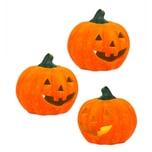 BigDean 3er Set Halloween-Kürbis Windlicht groß - HxD: ca. 13x14 cm - Zierkürbis als Herbstdeko - Aus Keramik - Mit Öffnung für Teelichter - Mottoparty-Deko