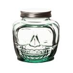 BigDean Vorratsdose Totenkopf mit Schraubdeckel 1,3 Liter - 100% recyceltes Glas - Vorratsglas Schraubglas Lebensmittelglas mit Schraubverschluss Halloween Deko