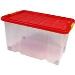 BigDean Eurobox 60x40x30 cm mit Deckel, Rädern & Rollen (abnehmbar) - Universalbox Aufbewahrungsbox - 55 Liter Fassungsvermögen Aufbewahrungsbehälter Stapelbox Lagerkiste stapelbar