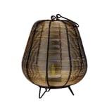 BigDean Moderner Windlicht-Kerzenhalter 19 cm aus Metall-Draht schwarz-golden - Mit Henkel & Standbeinen - Kerzenständer,Teelicht-Halter