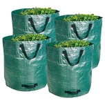BigDean Gartenabfallsack XXL 272L im 4er Set - Extra robustes Polypropylen-Gewebe 150g/m² - wasserdicht & reißfest - Perfekter Behälter für Laub, Müll, Grünabfall, Grüngut & Kompost