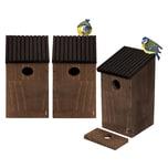 BigDean 3x Nistkasten Meisen Nest - Vogelhaus aus Natur Holz - Braun Grau - 24x14x12 cm - Bruthöhle Nisthaus Meisenkasten offen für Wildvögel